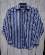 BUGATCHI UOMO Blue Striped Woven Cotton Long Sleeve Shirt Size Large