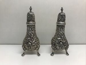 S. Kirk & Son Repousse Sterling Silver Salt & Peppers 3 Footed   Beautiful!
