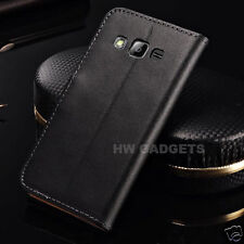 Genuine Real Leather Slim Flip Wallet Case Cover for Samsung Galaxy J3 (2017)