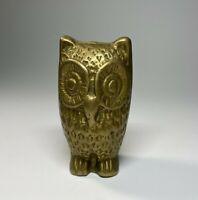 Vintage Brass Owl Heavy Paperweight Wise Big Eyes Bird Animal Night Figurine