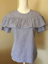 New J Crew Edie Top Ruffle Blouse Blue & White Shirting Stripe 0 Sold Out! F9398