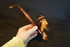 Old Vtg Long Collectible Tobacco Unique Carved Smoking Pipe Men W/Beard