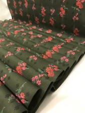 Vtg Cotton DAY DRESS FABRIC Rare Green Flower Striped Pink Orange Red 37x4yd+17""