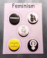 5 FEMINISM Badge Magnet Mirror or Keyring set Feminist 25mm pin Women's Rights