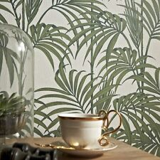 Green & Off White Palm Leaf Tropical Textured Wallpaper - NEW!