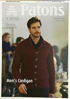 KNITTING PATTERN Mens Ribbed Collared Cardigan Long Sleeve Patons 4046 ORIGINAL