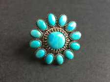 Turquoise sterling silver flower ring size 7.5