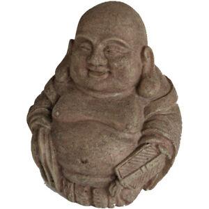 DECORAZIONE DECORO ORNAMENTO ACQUARIO BUDDHA CHE RIDE IN RESINA 10 X 8,5 X 12 CM