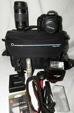Canon EOS Rebel T7 24.1 MP Digital SLR BUNDLE 18-55MM 75-300MM LENSES Flash Bag