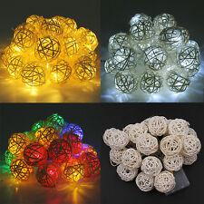 LED Lichterkette Kugel Stoff Rattan Ball 20er warm Kalt weiß Bunt Batterie HS