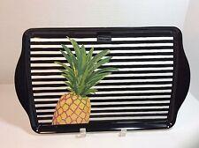 NEW! Cynthia Rowley Pineapple Stripes Black White MELAMINE SERVING TRAY PLATTER