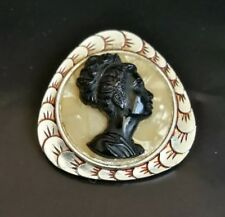 mother of pearl brooch rare piece Amazing and unusual Black Cameo figure in