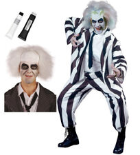 Beetlejuice Suit Wig & Face paints or separate items Halloween Party Fancy Dress
