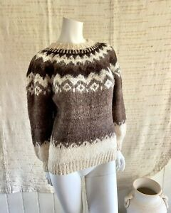 Womens Hand Knitted Fair Isle Knit Jumper Sweater Size M 12 Vintage Brown Llama