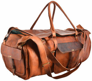 Bag Leather Vintage Goat Luggage Travel Gym Duffle Genuine Handmade Duffel Real