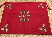 New In Package Garnet Hill Red Wool Nylon Edelweiss Holiday Embroidered Pillow