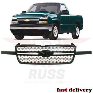 New Front Upper Black Grille Assembly Fits 2003-2007 Chevrolet Silverado 1500 SS