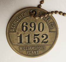 Vintage BETHLEHEM STEEL CO Brass Time Check Tag: WILLIAMSPORT PA Wire Rope Plant