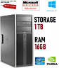 HP Elite 8300 Office PC Core i7 16GB RAM 1TB HDD Nvidia GPU Windows 10 Desktop