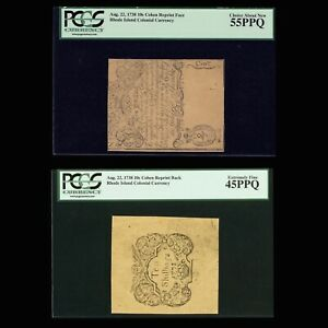 Rhode Island Colonial Currency Aug. 22, 1738 10s PCGS PPQ *Cohen Front & Back*