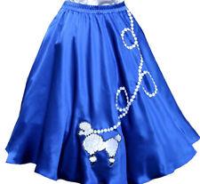 "New Blue SATIN 50's Poodle Skirt Adult Plus Size XL/3X Waist 38""-46"" Length 25"""