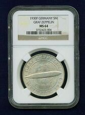 """GERMANY WEIMAR REP. 1930-F 5 REICHSMARK """"GRAF ZEPPELIN"""" COIN, CERTIFIED NGC MS64"""