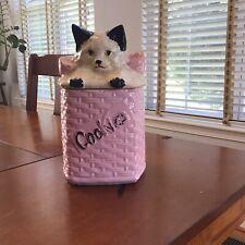 Vintage McCoy Kitten in Pink Basket Retro kitty cookie jar
