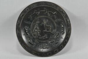 g72p53- Reliefierter Bronze Teller mit Jagdszene/ Hl. Hubertus