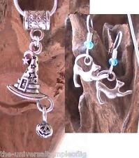 HALLOWEEN WITCH HAT NECKLACE WITH CAT EARRINGS. SILVER TONE FESTIVE PAGAN SET