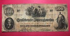 1863 ~ $100 Confederate States of America Banknote -
