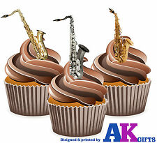 Saxofón Mix 12 Comestibles Stand Up Cup Cake Toppers Blues Jazz Band Decoraciones