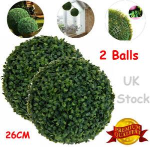 2X Artificial Green Boxwood Buxus Topiary Grass Hanging Ball Garden Patio Decor
