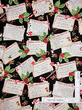 Christmas Recipe Card Toss Black Cotton Fabric Holly Jolly Robert Kaufman Yard