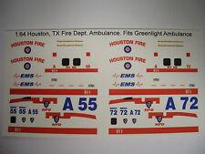 Houston Fire Dept. Ambulance 1:64 Water Slide Decals Fits GL Blank Ambulance