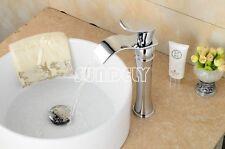 Tall Bathroom Basin Sink Waterfall Brass Faucet Chrome Finish Mixer Bath Tap