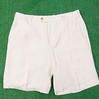PETER MILLAR SEASIDE COLLECTION LINEN SILK COTTON BLEND WHITE SHORTS MENS SZ 36
