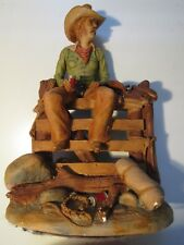 APSIT BROTHERS CHALKWARE COWBOY RODEO STATUE HIGH CHAPARRAL PETER APSIT DETAILED