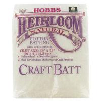 "Hobbs Heirloom Wadding Batting Premium Cotton 36"" x 45"" Small Piece Craft Size"