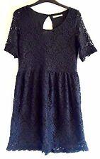 Suite Blanco TRICOT pizzo nero vestito corto maniche corte taglia L (UK12)