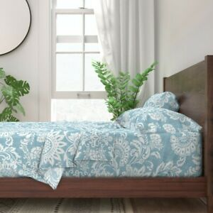 White Blue Leaves Floral Nature 100% Cotton Sateen Sheet Set by Spoonflower