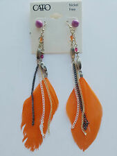 Lot 2 paires Boucle d'oreilles Plume Orange Frange + Perle Violet A43