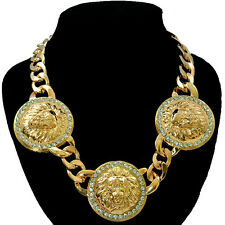 "Lion Head Necklace Chunky Gold Statement 21"" Chain Link Celebrity Fashion UK"