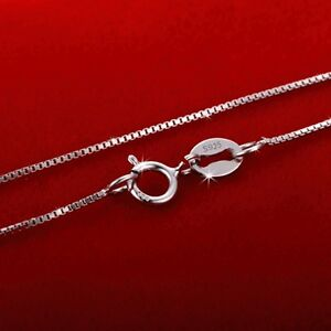 """0.7mm Genuine Solid 925 Sterling Silver Curb Box Chain Necklace 16-24"""" Inches"""