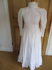 LAURA ASHLEY VINTAGE 1970s WHITE COTTON EDWARDIAN STYLE WEDDING DRESS size10 UK8