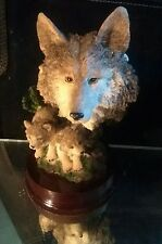 "Two wolves pups and wolfs head bust sculpture figure 5.5"" tall"