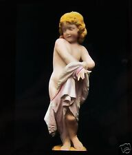 Glass Magic Lantern Slide STATUE OF CHILD TITLED BED TIME C1890
