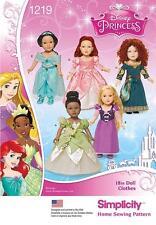"SIMPLICITY SEWING PATTERN Disney Princess 18"" Doll Clothes Rapunzel Merida 1219"