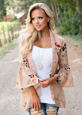 UK Plus Size Women Holiday Lace Floral Kimono Cardigan Ladies Summer Tops Blouse