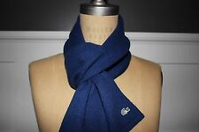 NWT LACOSTE 54x10 Women's Blue Wool Cashmere Rabbit Hair GATOR Logo Scarf
