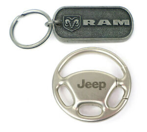 Lot of 2 Dodge Ram & Jeep Steering Wheel Keychains Collectible FCA Automobilia